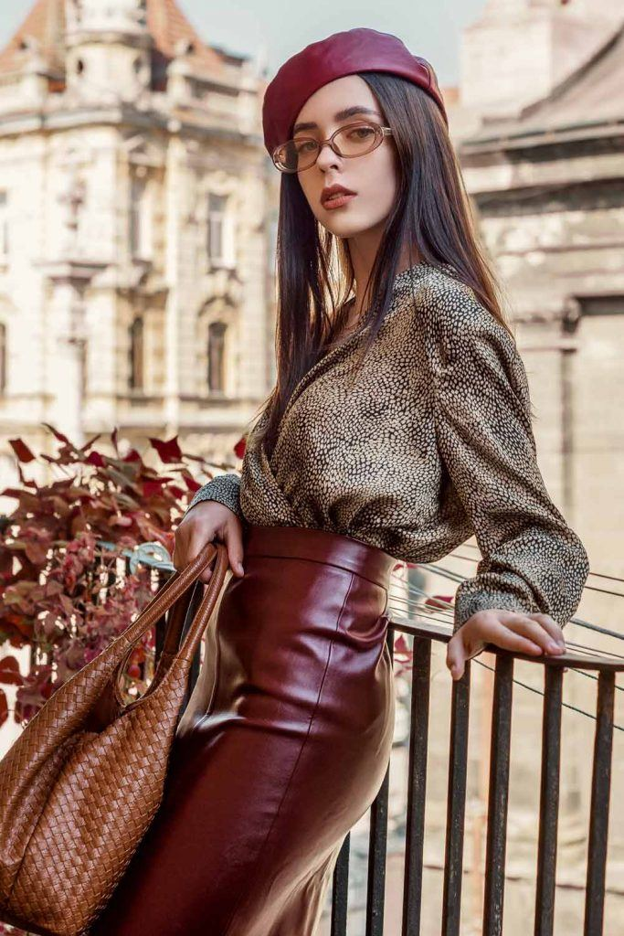 Leather Beret and Skirt Combo