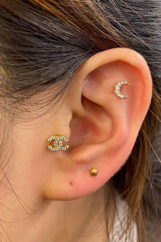Channel Label Tragus Piercing #channel #channeljawelry