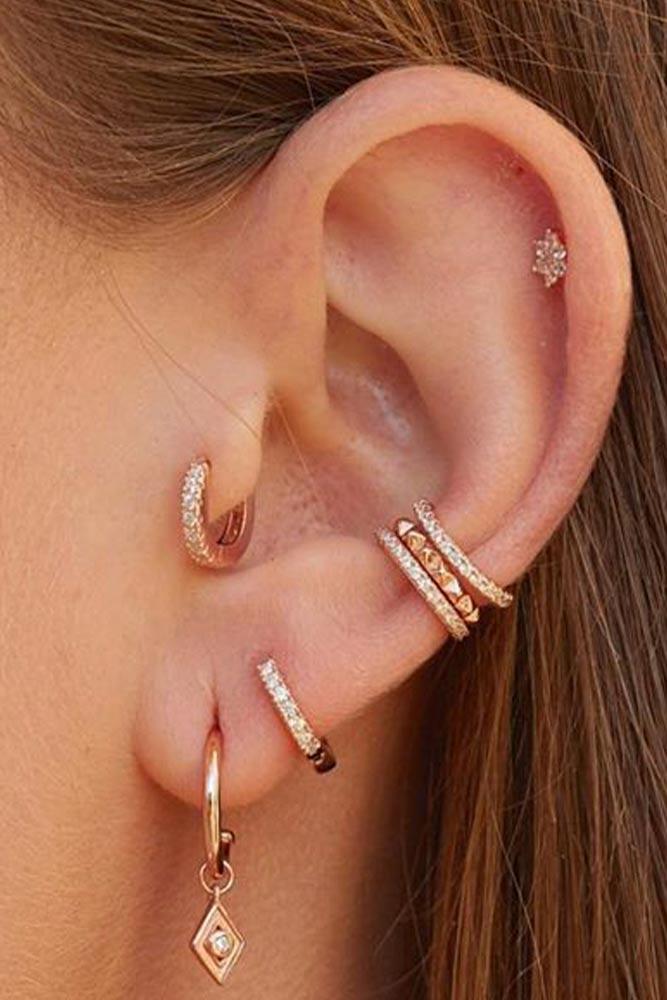 Mini Huggies Tragus Piercing  #minihiggiesring #goldjewelry
