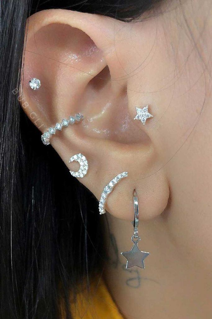 Piercing with Stars Earrings #staeearrings #piercing
