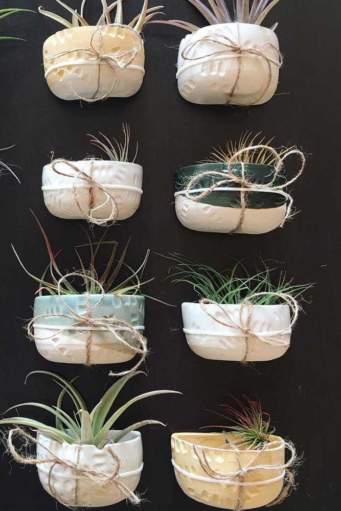 Ceramics Wall Pots With Half Color Accent #ceramicspots #wallmounted
