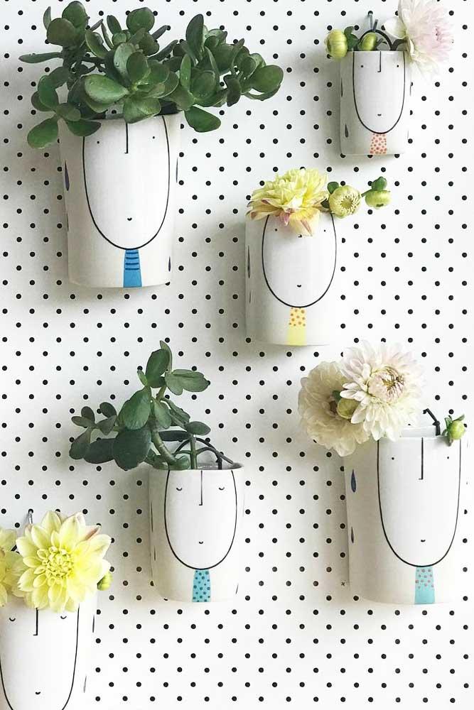 Fun Painted Wall Plants Pots #paintedpots