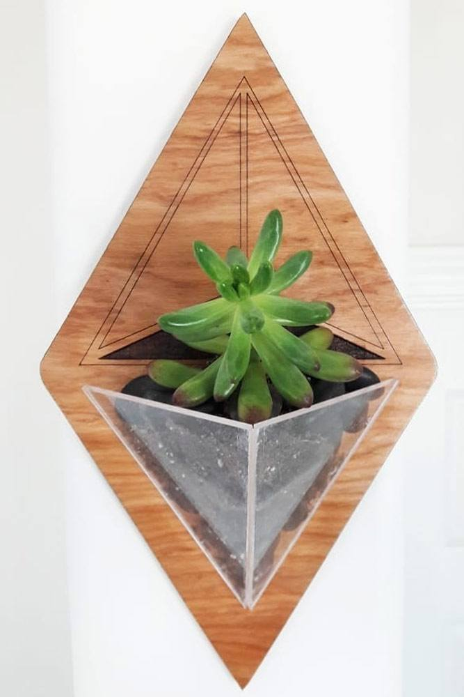Wood And Acrylic Geometric Wall Planter #geometricplanter