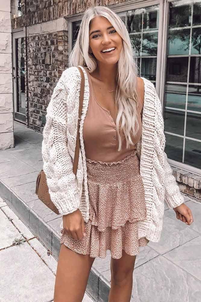 Ruffled Skirt With White Knit Cardigan #ruffledskirt