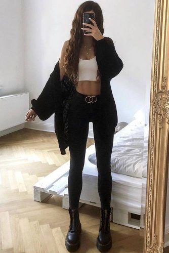 Black Cardigan With Combat Boots Outfit #combatboots #blackcardigan