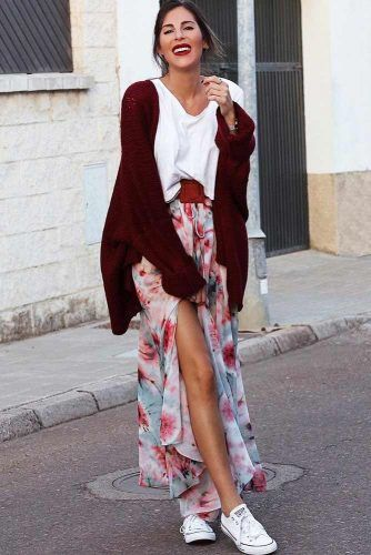 Maxi Floral Skirt With Burgundy Cardigan #floralskirt