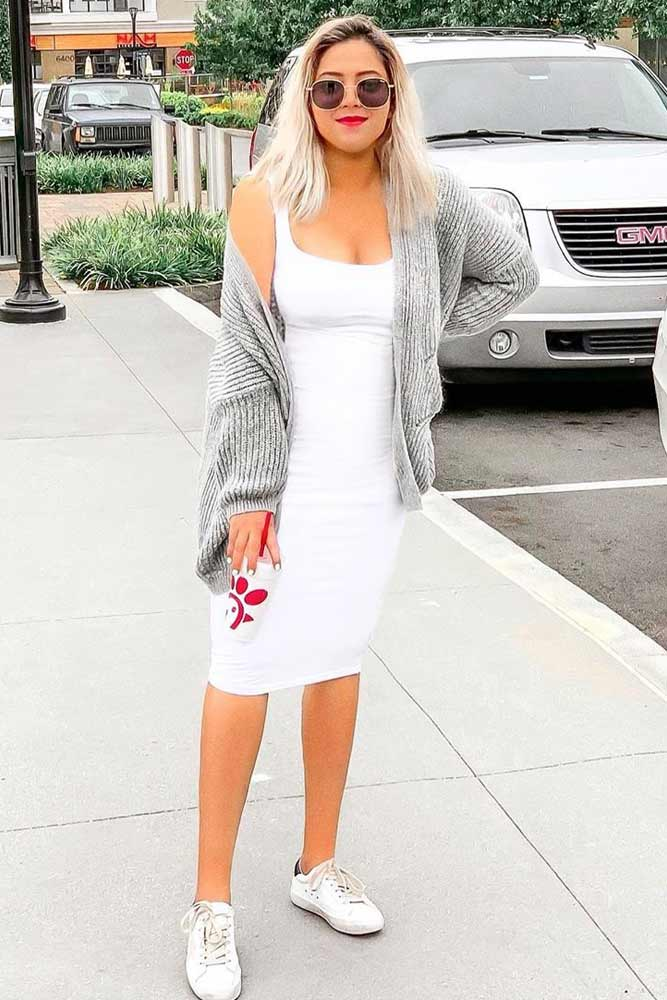 Gray Cardigan With Casual White Dress Outfit #graycardigan