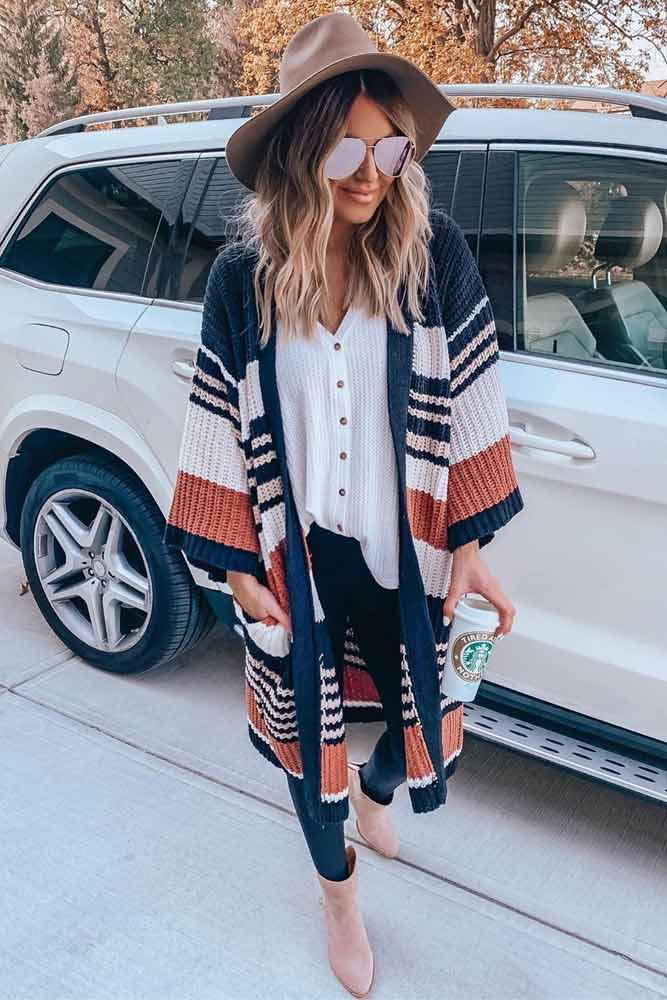 Striped Cardigan With Black Leggings Outfit #stripedcardigan