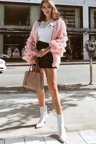 Black Mini Skirt With Pink Cardigan #pinkcardigan #blackskirt
