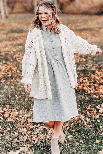 Plaid Comfy Dress With Crochet Cardigan #plaiddress