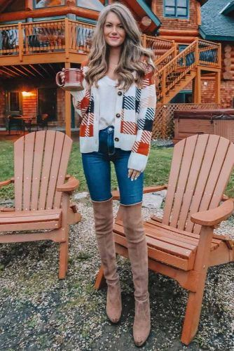 Plaid Cardigan With Over The Knee Boots #plaidcardigan #overkneeboots