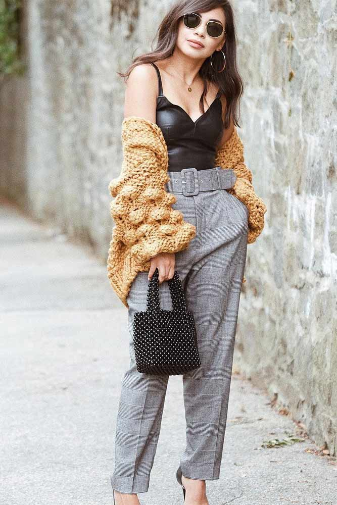 Gray Trousers With Bubble Sleeves Cardigan #graypants #bubblecardigan