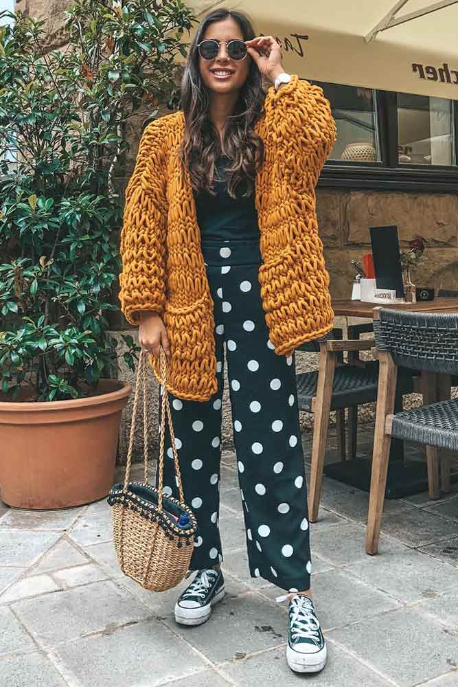 Print Pants With Cozy Oversized Cardigan #printpants