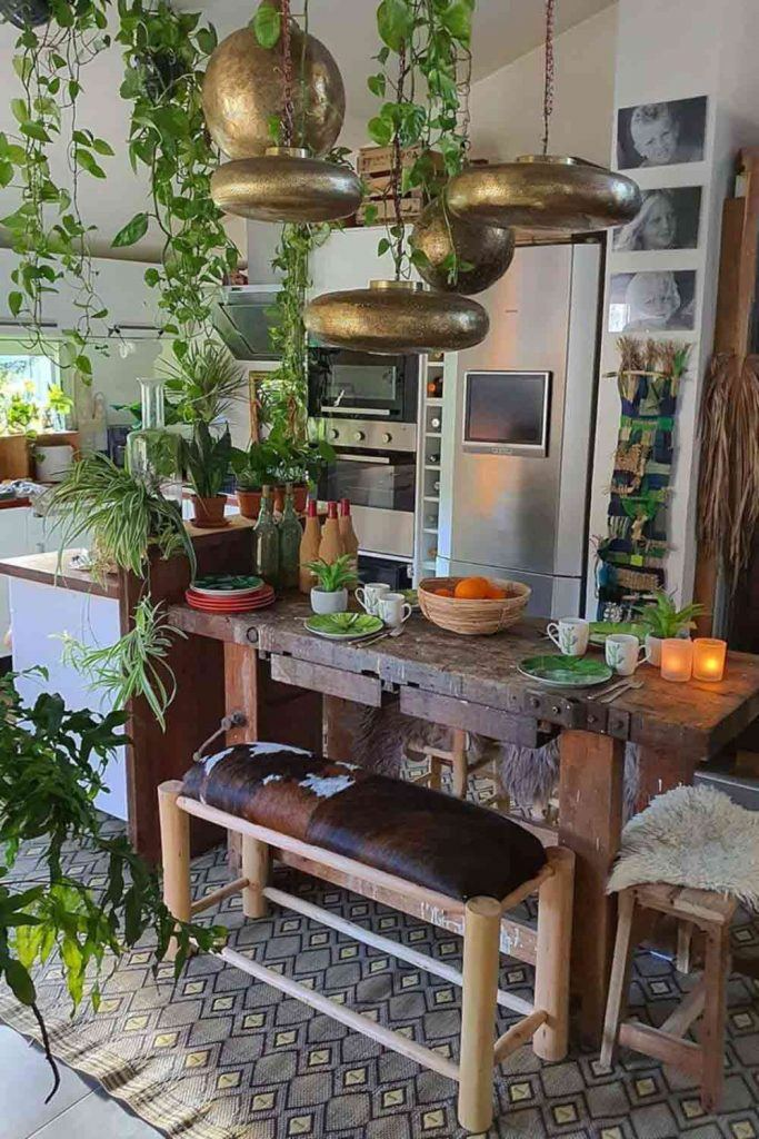 Modern Kitchen With Rustic Table And Boho Décor #plantsdecor