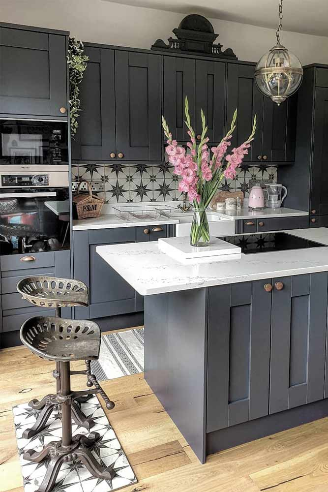 Gray Kitchen With Metallic Stools #metallicstools