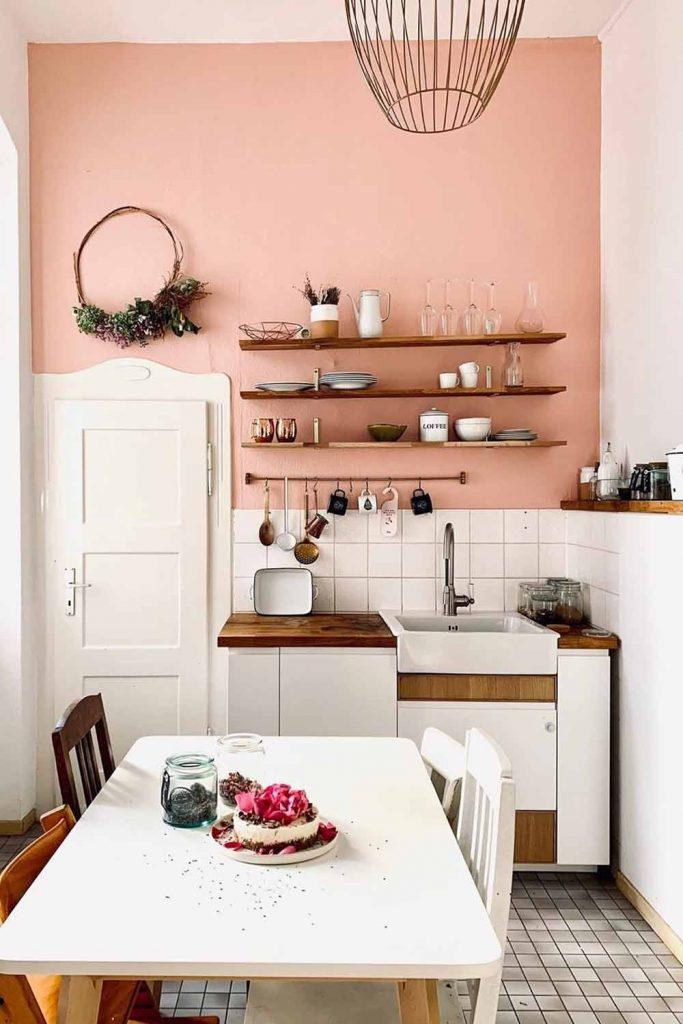 Kitchen Space With Rustic Furniture #pinkwall #rusticshelves
