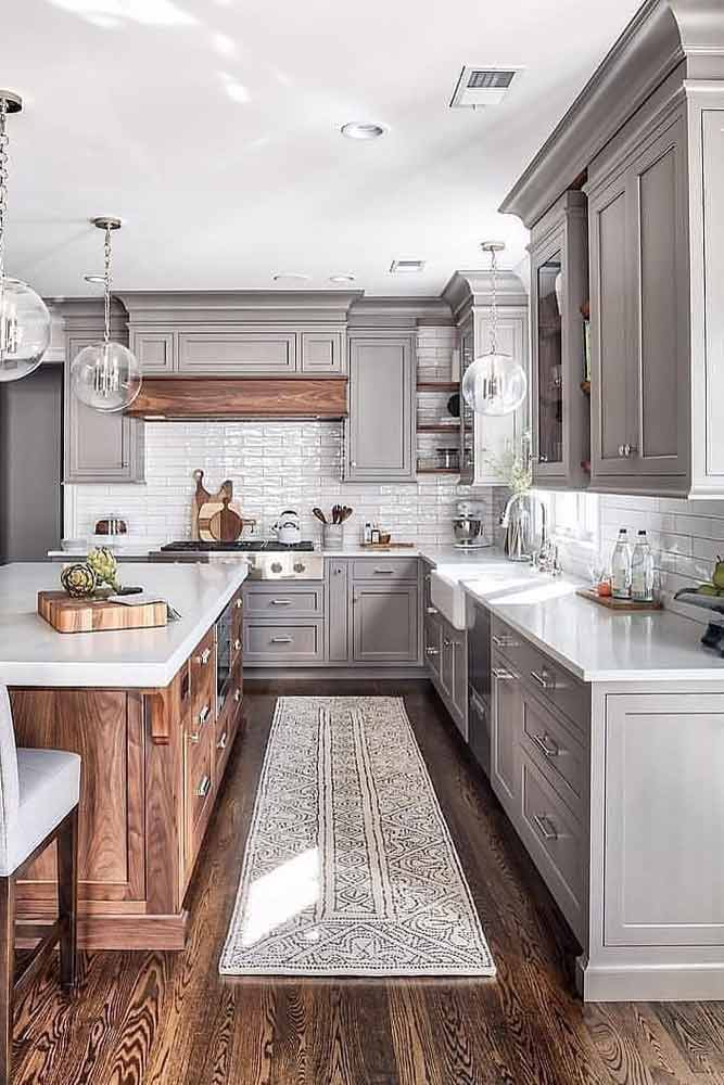 Gray Kitchen With Wooden Accents #woodenisland #graycolors