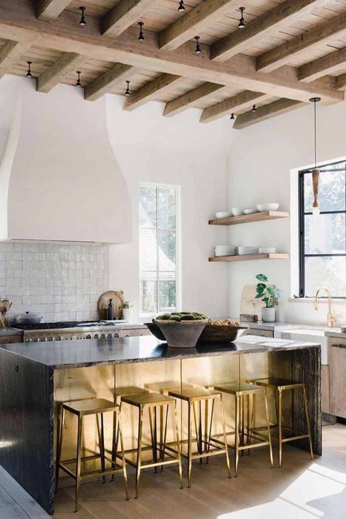 Modern Kitchen Design With Golden Stools Accent #goldenstools