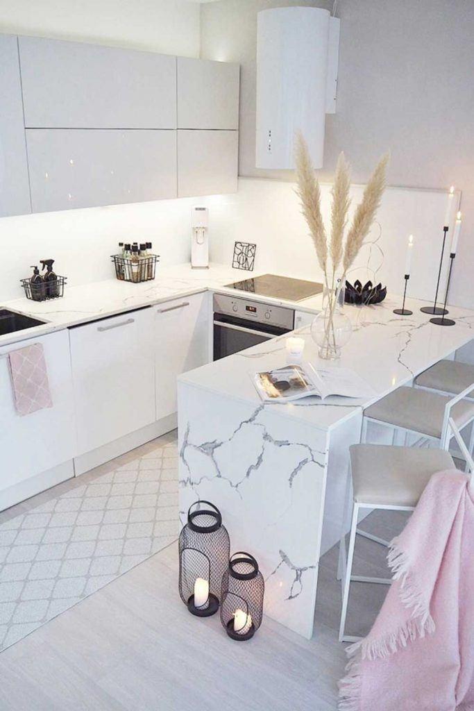 Modern Minimalist Kitchen Design In White #marblefurniture