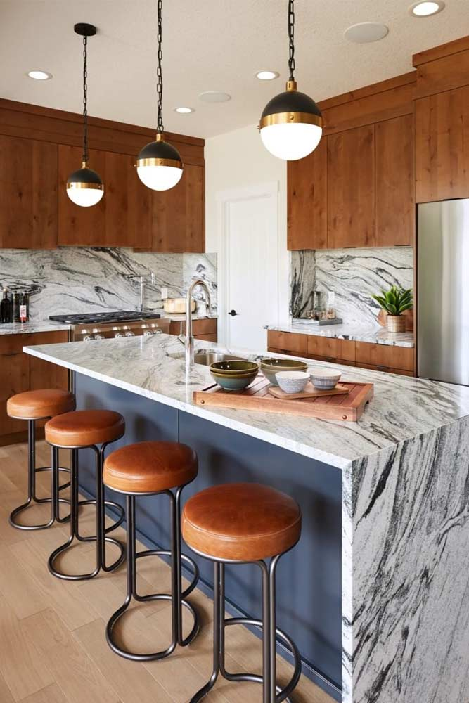 Mid-century Kitchen With Marble Counter Top And Backsplash #marble #wooden