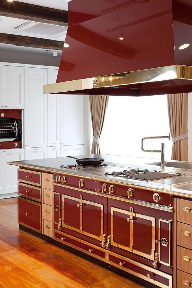Kitchen Décor With Red Island Accent #redkitchenisland