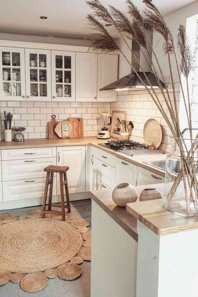 White Kitchen With Natural Accents #naturalrug