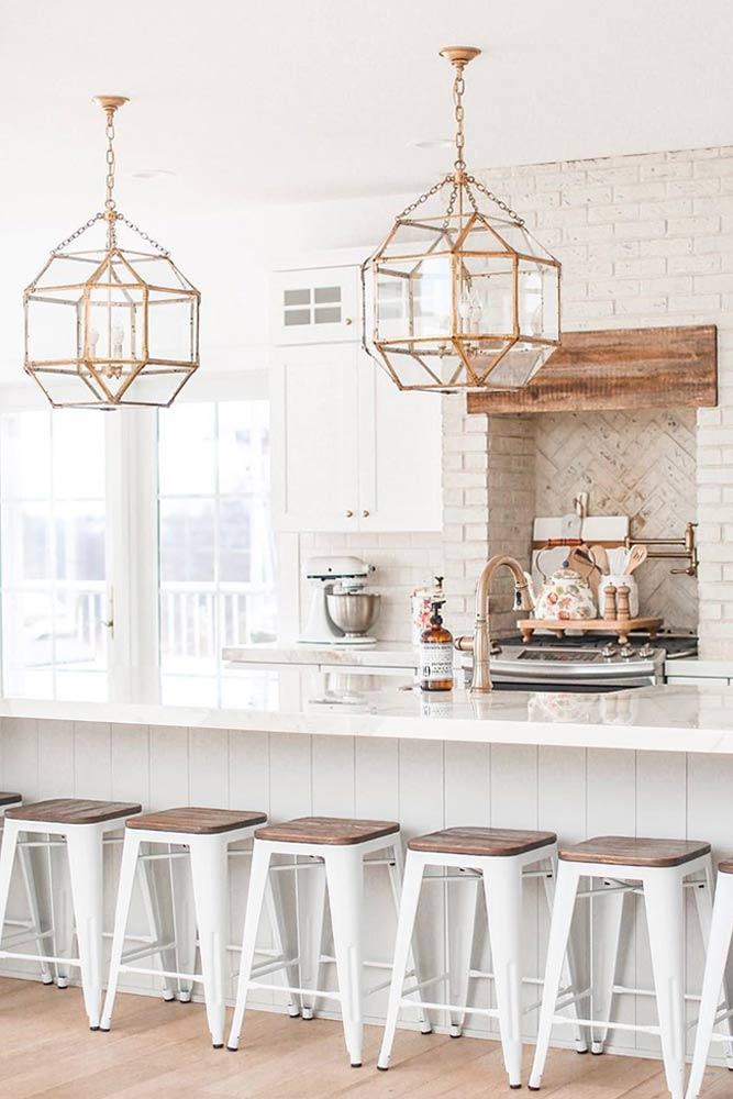 White Kitchen With Golden Lights Accents #goldenlights