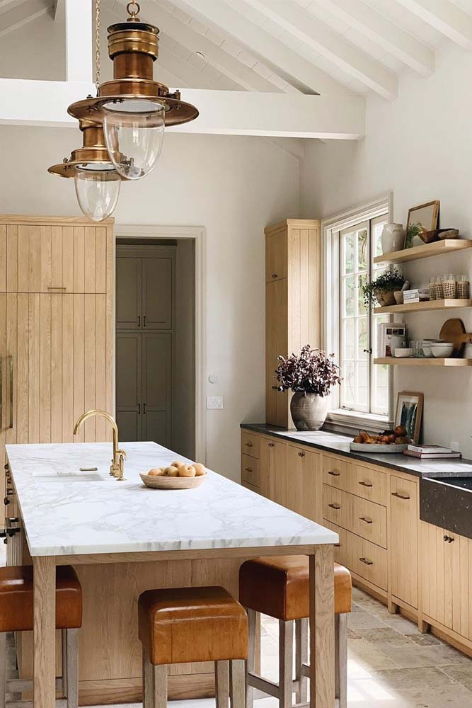 Kitchen Ideas With Retro Counter Stools #stools #woodencabinets