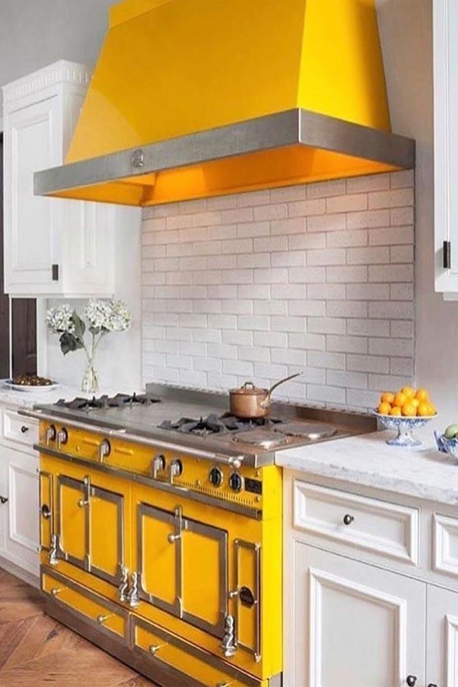 Lemon Yellow Kitchen Idea #yellowaccent #whitebacksplash