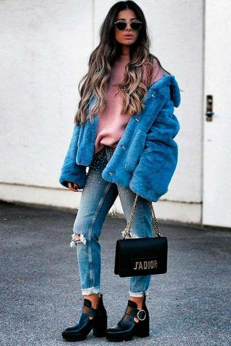 Blue Faux-Fur Jacket #fauxfurjacket