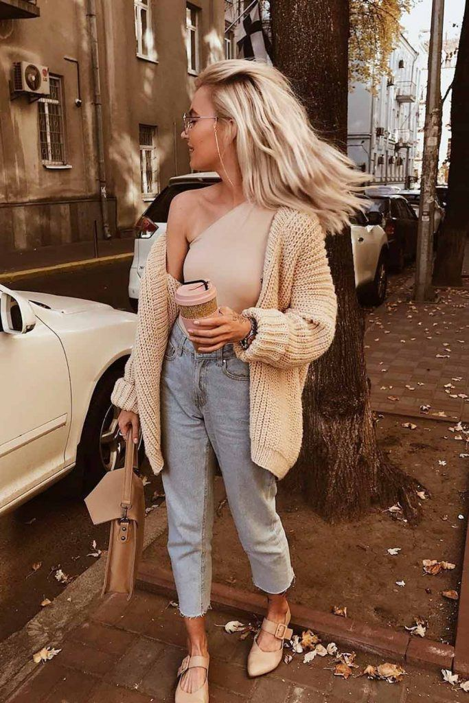 Jeans With One-Shoulder Top