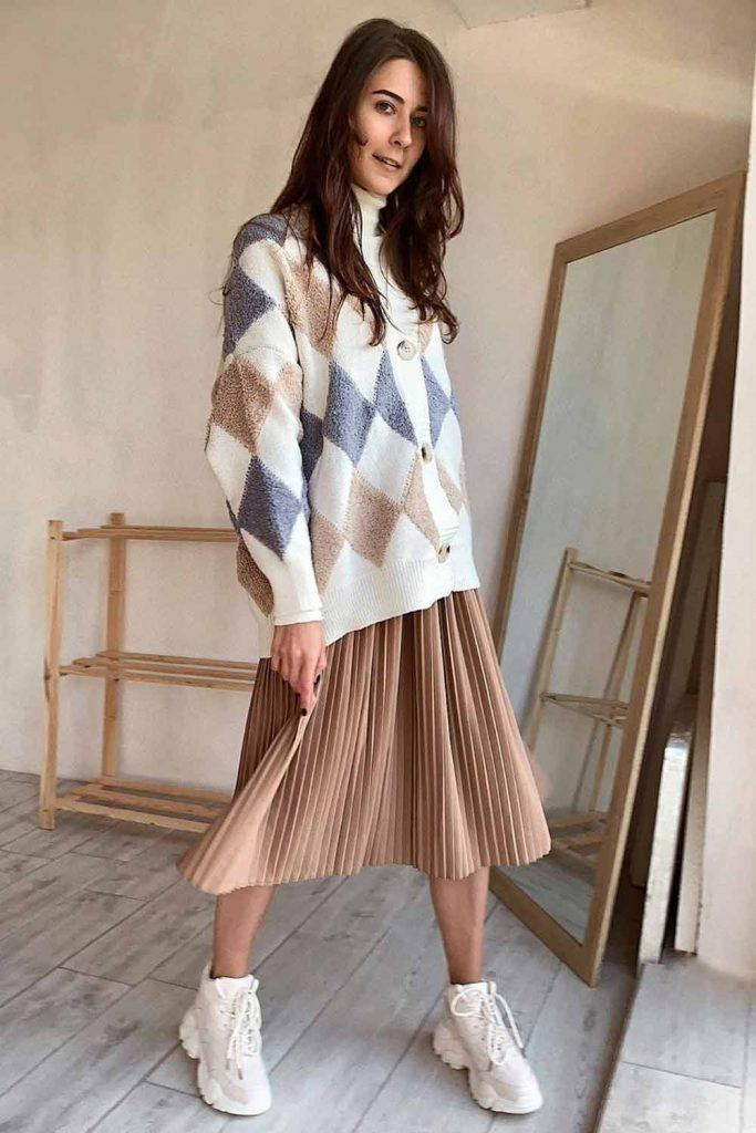 Argyle Patterned Cardigan With Midi Skirt