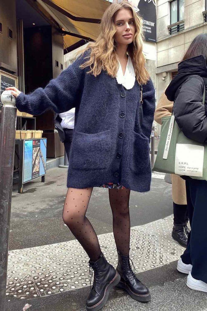 Oversize Cardigan With Mini Skirt
