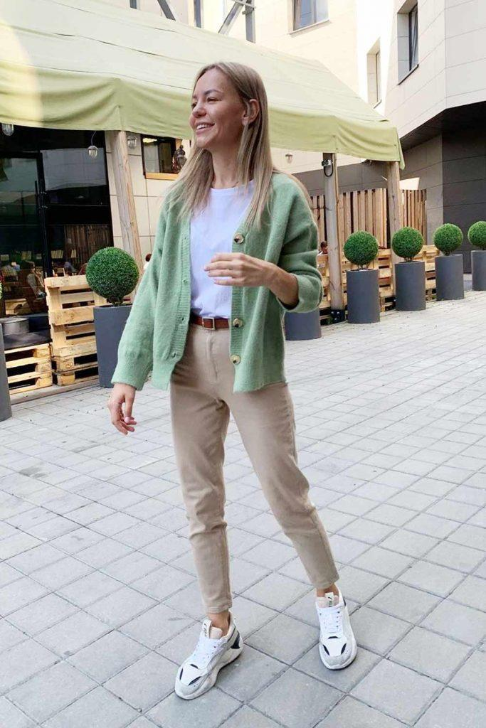 Green Cardigan With Beige Pants