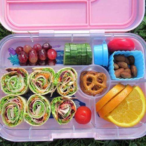 Lunch Box With Rainbow Salad Wraps #orange #grapes