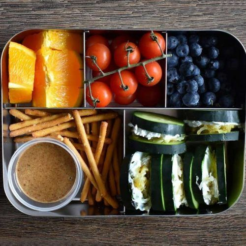Lunch Box With Cucumber Sandwiches #orange #tomatoes