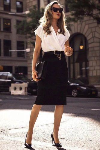 Pencil Black Skirt With White Blouse Outfit #pencilskirt