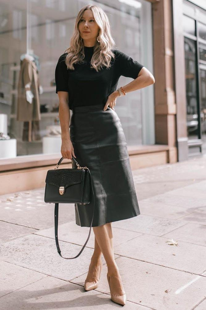 Monochromatic Business Attire #leatherskirt #blacktop