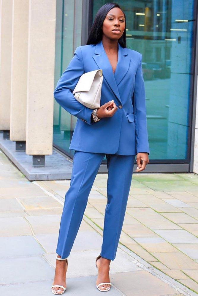 Blue Power Suit Outfit Idea #powersuit
