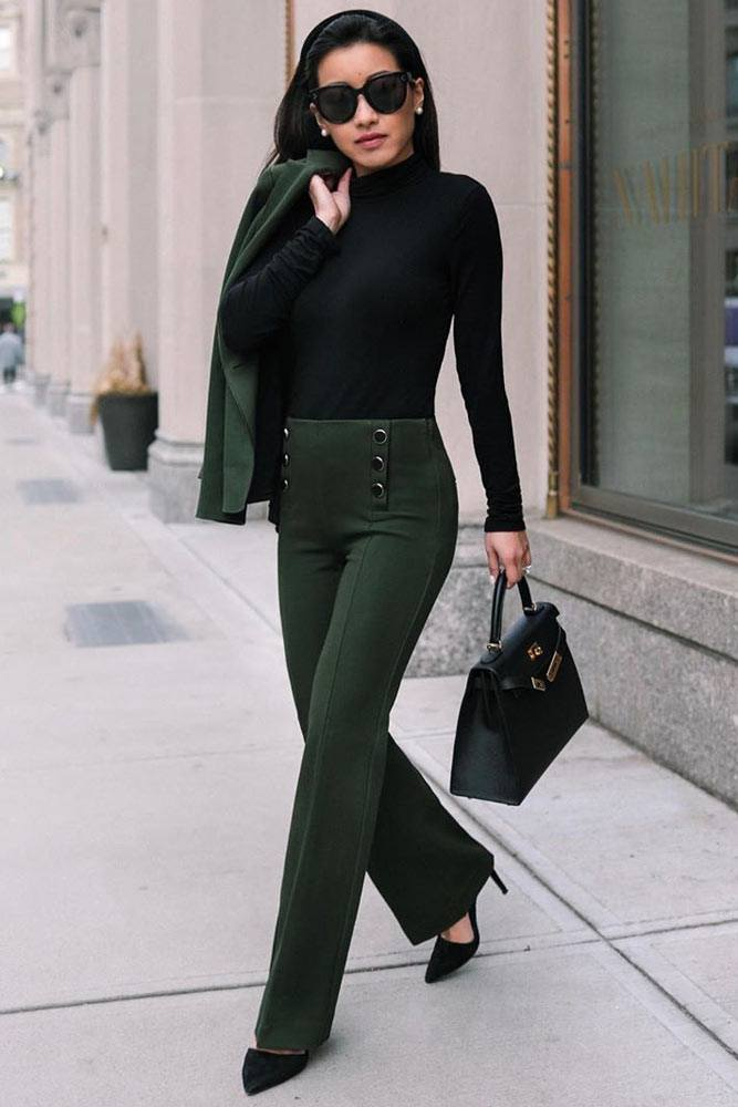 Dark Green Power Suit With Black Top Outfit #blacktop #powersuit