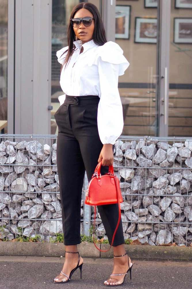 White Blouse With Black Pants Outfit #blackpants