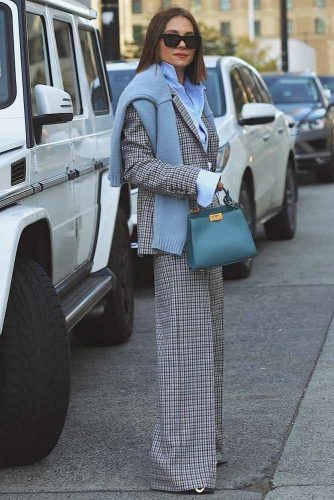 Plaid Suit With Knitted Sweater Look #plaidsuit