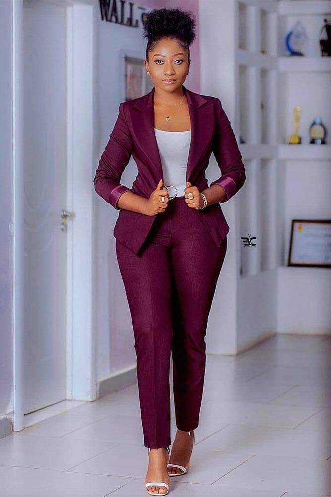 Purple Power Suit With White Top #whitetop #purplejacket