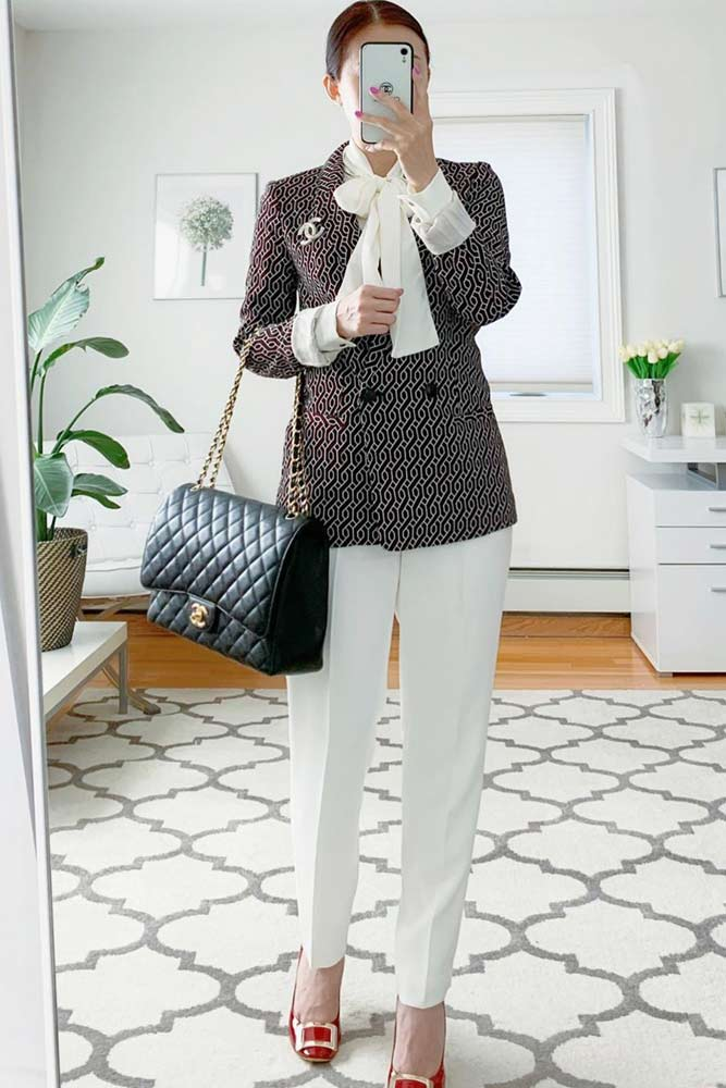 Plaid Blazer With White Trousers Business Outfit #plaidblazer