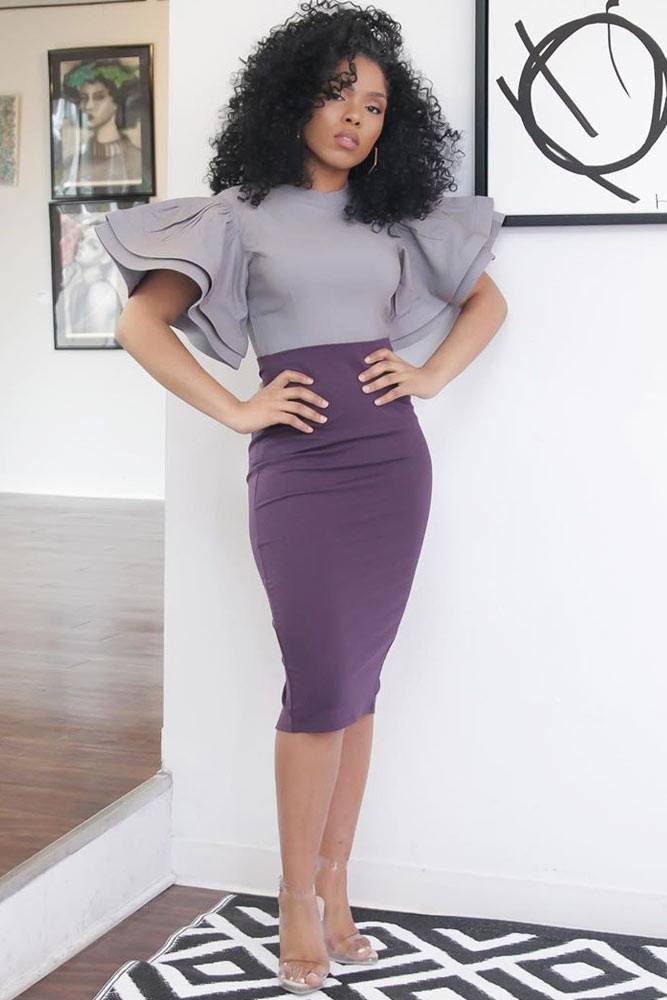 Purple Pencil Skirt With Gray Top #graytop #ruffledsleeves