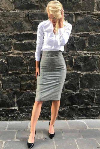Gray Pencil Skirt With White Skirt Outfit #grayskirt #whiteshirt