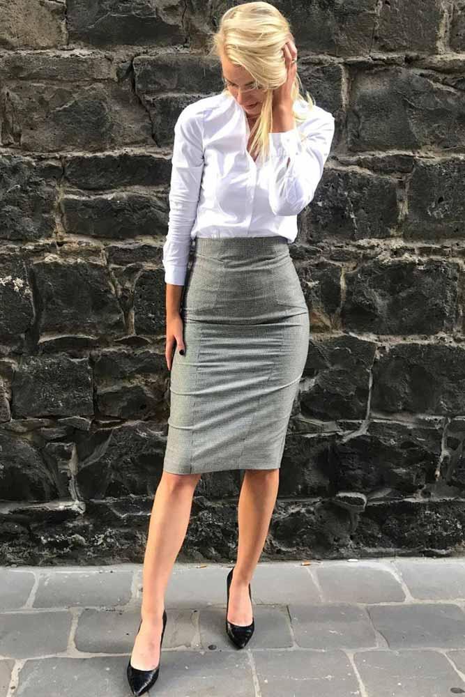 Gray Pencil Skirt With White Skirt Outfit #grayskirt #whiteshirt» width=«667» height=«1000» srcset=