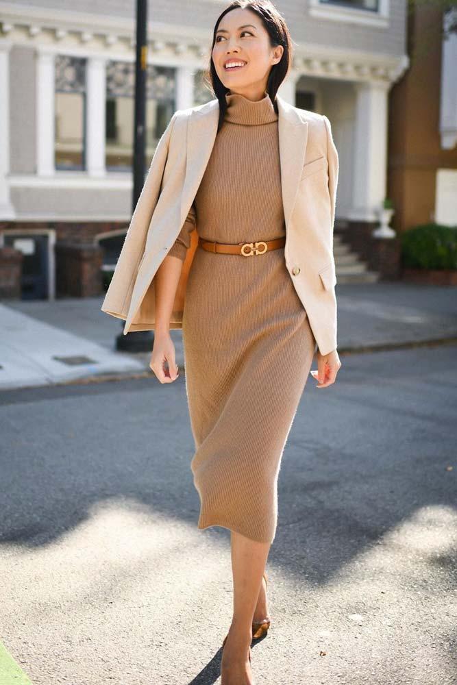 Turtle Neck Dress With Blazer Outfit #dress #blazer» width=«667» height=«1000» srcset=