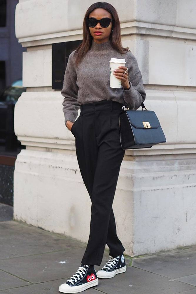 High Waist Pants With Sweater Business Outfit #blackpants