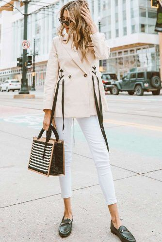 White Skinny With Blush Jacket Outfit #jacket #skinny